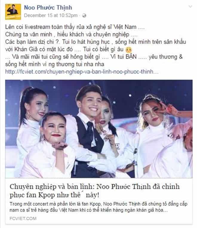 Noo Phước Thịnh đắc tội với fan Kpop